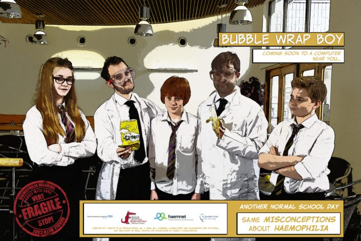 Poster for 'Bubble Wrap Boy' a haemophilia awareness film