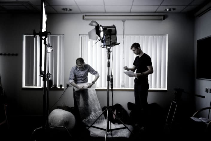 Behind the scenes photography of the filming of 'Bubble Wrap Boy' a haemophilia awareness film